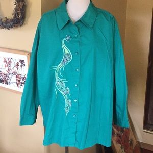 BOB MACKIE sz 3x PEACOCK embroidered TUNIC STRETCH